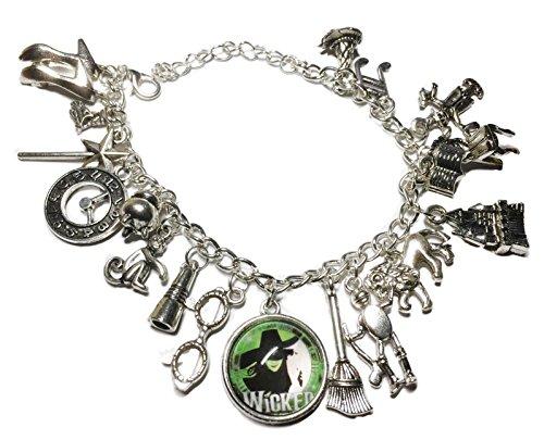 d Silvertone Metal and Glass Dome Charms Bracelet (Wicked Charm Bracelet)