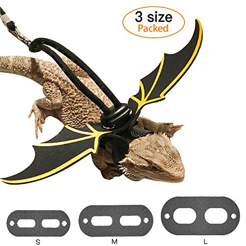 KUDES Adjustable Bearded Dragon Leather Harness Leash (S,M,L,3 Pack) with Cool Wings for Most of Reptiles Amphibians and Other Small Pet ()