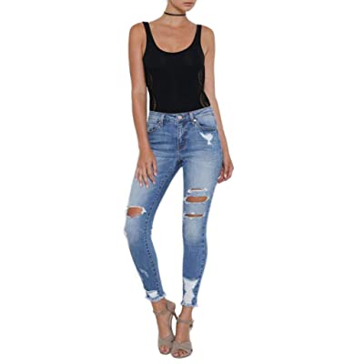 7 Encounter Kancan Women's Distressed Cropped Ankle Skinny Denim Jeans KC5056M at Amazon Women's Jeans store