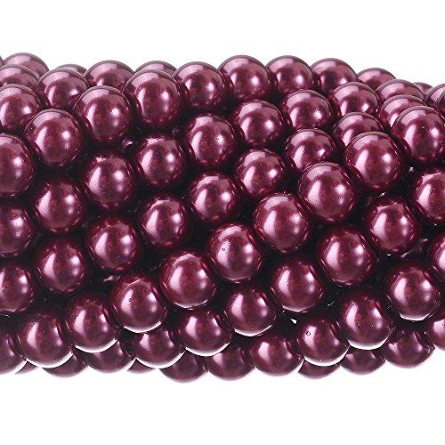 - RUBYCA 200Pcs Czech Tiny Satin Luster Glass Pearl Round Beads DIY Jewelry Making 6mm Plum Purple