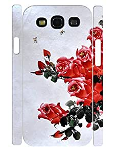 Flower Design Tough Phone Drop Protection Case 3D Print Cute Drawing Rose for Samsung Galaxy S3 I9300