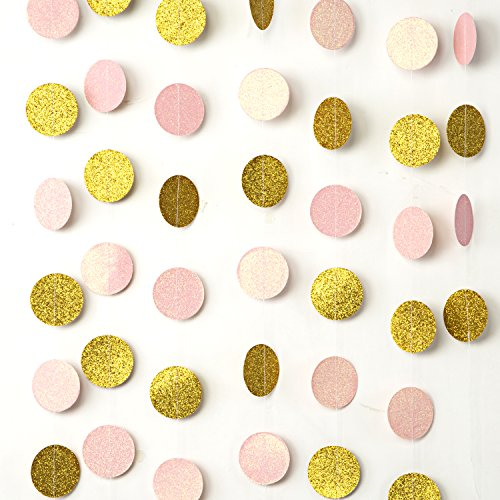 MOWO Paper Garland Pink and Gold Glitter 2'' Circle Dots Decoration 2pc 20 feet in Total