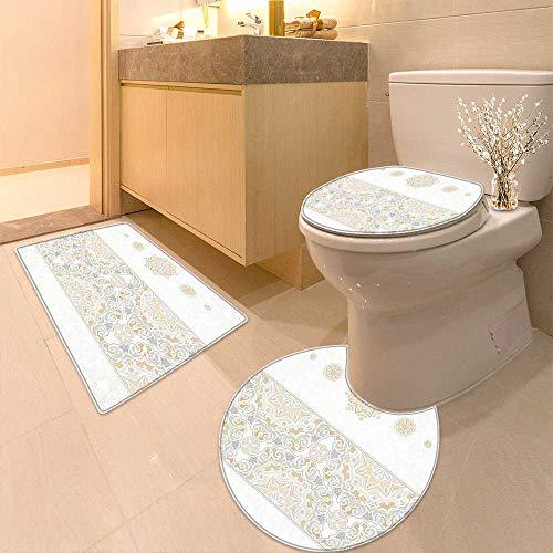 Printsonne 3 Piece Bathroom Contour Rugs Decor Turkish Oriental Tilework Star Shaped Embellished Islamic Pastel Design Beige Anti-Slip Water Absorption by Printsonne