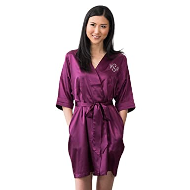 Weddingstar Inc. Womens Personalized Satin Robe with Pockets - Plum ...