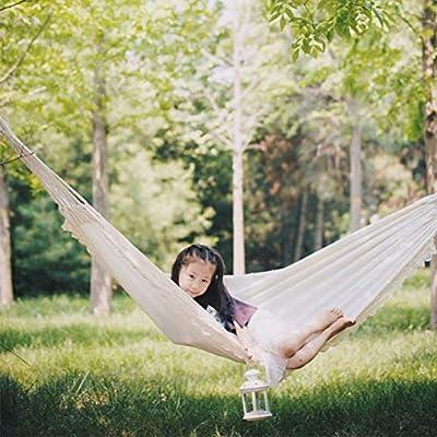 Hamacas Colgantes Blanca Hamaca Jardin Exterior, Tela de Lona, Elegante y Cómodo, Fácil de Llevar, Adecuado para el Ocio Interior Turismo al Aire Libre Camping Picnic, 200 * 80cm: Amazon.es: Deportes y
