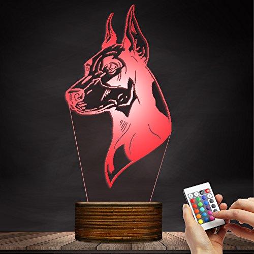 3D Effect German Doberman Pinscher Shape Night Light Home Art Decorative Lighting Atmosphere LED Lamp for Loves Dog Owner Gift