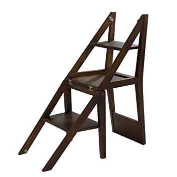 WSSF- Taburete / silla de madera maciza nórdica de 3 pasos ...