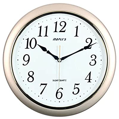 Maple's 14-Inch Wall Clock, White Face with Metallic Gold Bezel - Iso 9001 certified Embossed hourly numbers Sweep mode second handle - wall-clocks, living-room-decor, living-room - 51SabrrEEqL. SS400  -