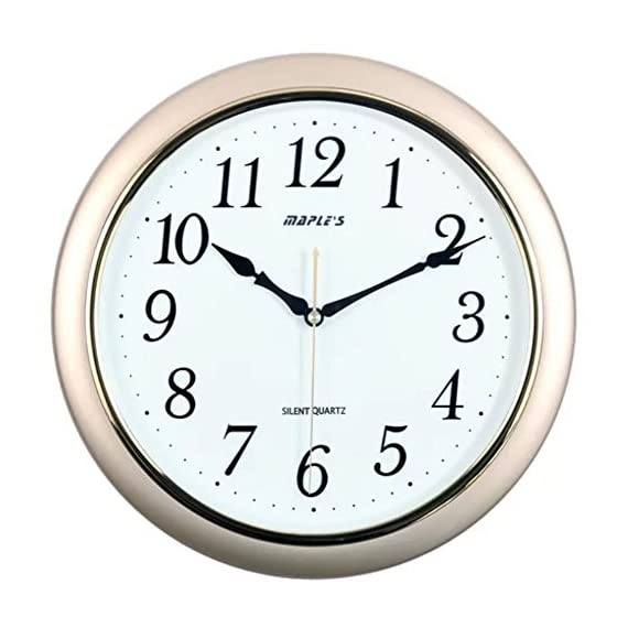 Maple's 14-Inch Wall Clock, White Face with Metallic Gold Bezel - Iso 9001 certified Embossed hourly numbers Sweep mode second handle - wall-clocks, living-room-decor, living-room - 51SabrrEEqL. SS570  -