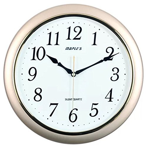 51SabrrEEqL - Maple's 14-Inch Wall Clock, White Face with Metallic Gold Bezel