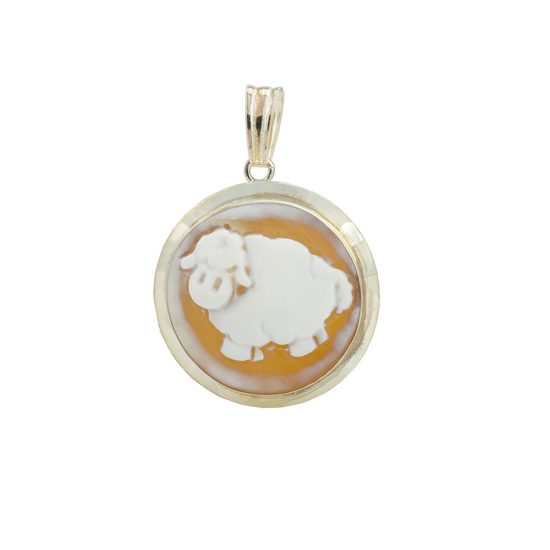 Sheep Cameo Pendant - Christian Sheep Round Sardonyx Cameo Pendant 29mm