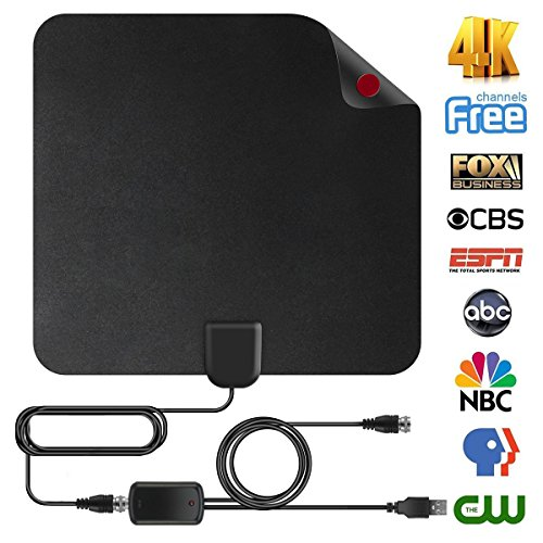Shnvir TV Antenna, 50 Mile Digital TV Antenna Flat HD Antenna Digital Antenna HDTV Antenna Indoor Antenna Indoor TV Antenna for Digital TV Indoor with 13FT Coaxial Cable- Cool (1 Channel Tv)