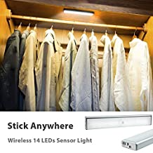 Derlson Wireless LED Motion Sensor Under-Cabinet lights, Rechargeable Motion Sensing Light for Wardrobe,Closet ,Drawer,Hallway,Attics (1 Pack, white light)
