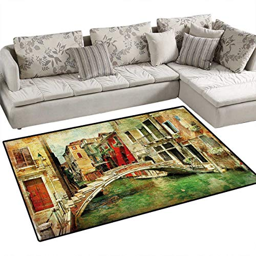 Venice Anti-Skid Rugs Vintage Artwork Painting Style Historic Venetian Landscape Artistic Print Girls Rooms Kids Rooms Nursery Decor Mats 55