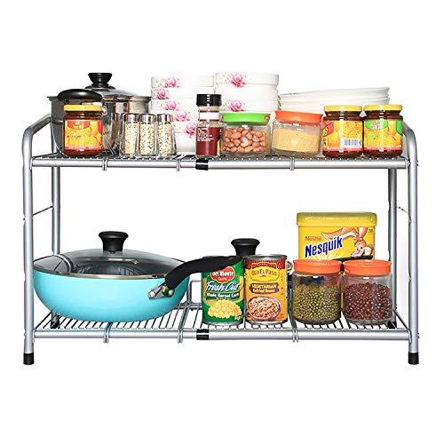 (FlagShip 2 Tiers Under Sink Strainer Cabinet Shelf Kitchen and Bath Stainless Steel Organizer Storage Rack)