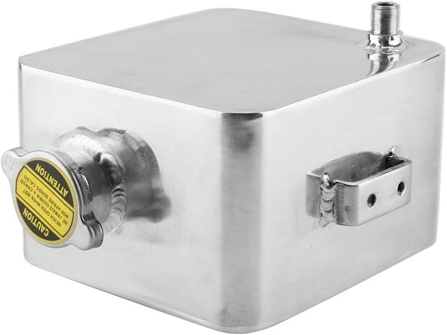 raccordi tanica di raccolta olio Serbatoio di refrigerazione quadrato in alluminio universale Sfiatatoio di raffreddamento 2,5L Serbatoio di sfiato Suuonee Argento