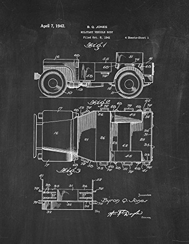 Military Vehicle Body Patent Print Art Poster Chalkboard