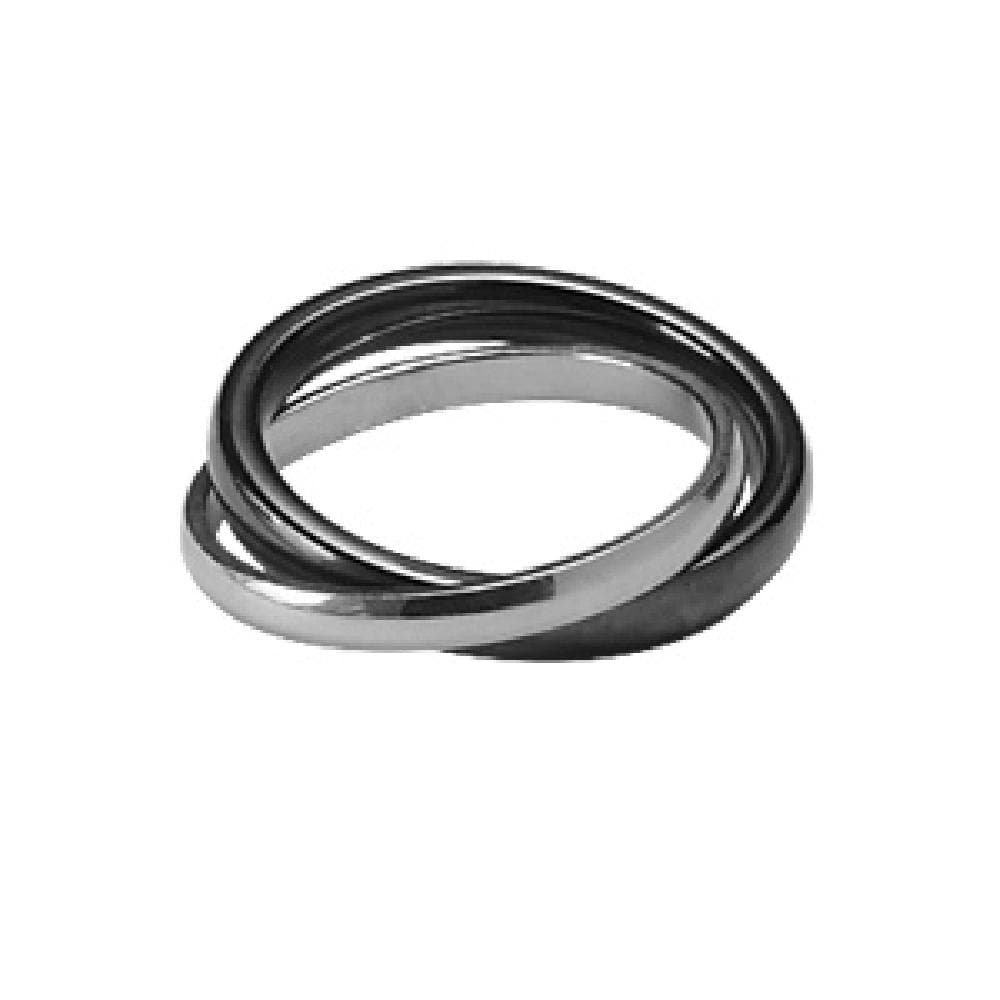925 Sterling Silver Black Ceramic 2 Ring Linked Wedding Band Ring So Chic Jewels
