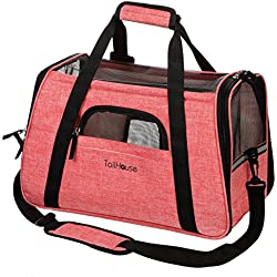 Amazing Pink Pet Carrier by TailHouse: Stylish & Heavy-Duty, Airline Approved Luxury Travel Bag For Small Dogs & Cats-Tote With Fleece Bed, Lockable Zipper & Comfortable Shoulder Strap