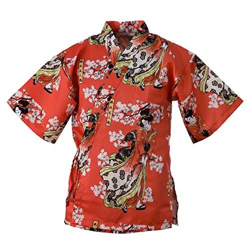 Japanese Style Vintage Chefs Clothes Kimono Style Half Sleeve Uniform Sushi Restaurant Chef Jacket Izakaya Waitress Workwear Red (Women and Sakura) M
