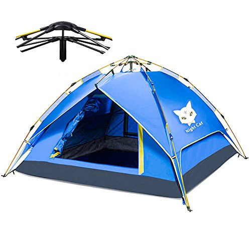 Night Cat Camping Tent 2 3 4 Person Easy Instant Pop Up Tent Backpacking Automatic Hydraulic Double Layer