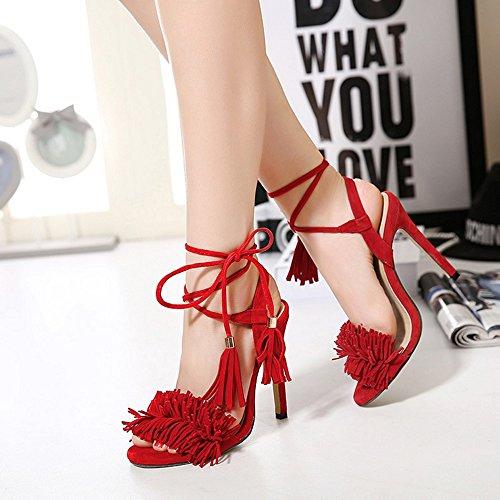 GAOLIXIA calle verano de boda Tacones Fiestas altos correa damas de Sandalias la Rojo Borlas Zapatos de cruzadas de para la 6Unq4xfY