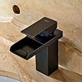 FYEER Single Handle Waterfall Style Bathroom Sink Faucet, Oil Rubbed Bronze Finish, Contemporary Design, Lead Free Certified, Hot & Cold Mixer, Easy Installation