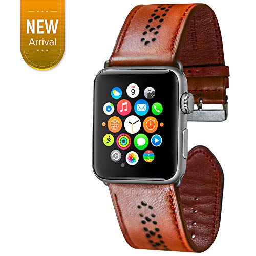 OGGO for Apple Watch Band 42mm 44 mm - Premium Genuine Leather Classic Buckle Vintage Retro Strap Bands Wristband Replacement for Apple Watches iWatch Series 4 3 2 1 Sport Edition