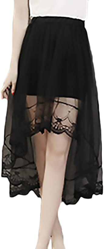 Faldas Mujer Elegantes Transparente Encaje De Malla Falda Cintura ...