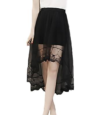 HX fashion Faldas Largas Mujer Elegantes Transparente Encaje De ...