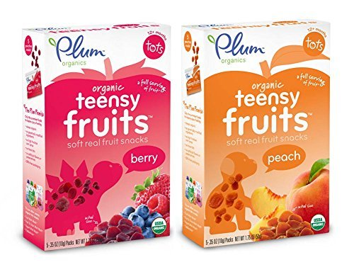 Plum Organics Teensy Fruits Bundle: 1 Box each of Peach and Berry Soft Fruit Snacks