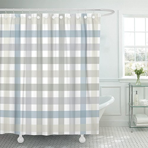 Gingham Shower Curtains - Emvency Shower Curtain Gray Plaid Grey and Blue Lines Pattern Red Abstract Breakfast Waterproof Polyester Fabric 72 x 72 inches Set with Hooks