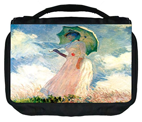(Claude Monet's Woman with A Parasol TM Small Travel Sized Hanging Cosmetic/Toiletry Case with 3 Compartments and Detachable Hanger-Made in the U.S.A.)