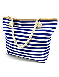 We We Fashion Beach Bag Waterproof Canvas Tote Straw Bag - Large (Style 05)