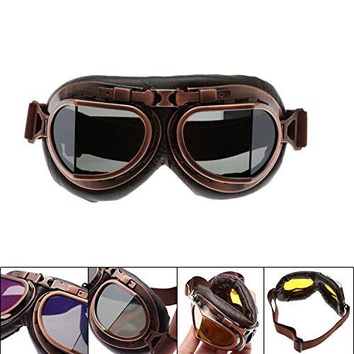 MENGCORE Motorcycle Goggles Glasses Vintage Motocross Classic Goggles Retro Aviator Pilot Cruiser Steampunk ATV Bike UV Protection Copper (Smoky ()