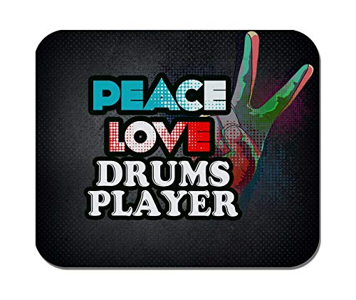 Makoroni - Peace Love Drums Player Music- Non-Slip Rubber Mousepad, Gaming Office Mousepad