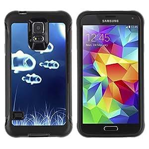 Suave TPU Caso Carcasa de Caucho Funda para Samsung Galaxy S5 SM-G900 / Fish White Blue Sea Wonder / STRONG