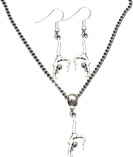 """SILVER GYMNASTIC CHARM NECKLACE PENDANT 18/"""" CHAIN FREE GIFT BAG UK SELLER"""
