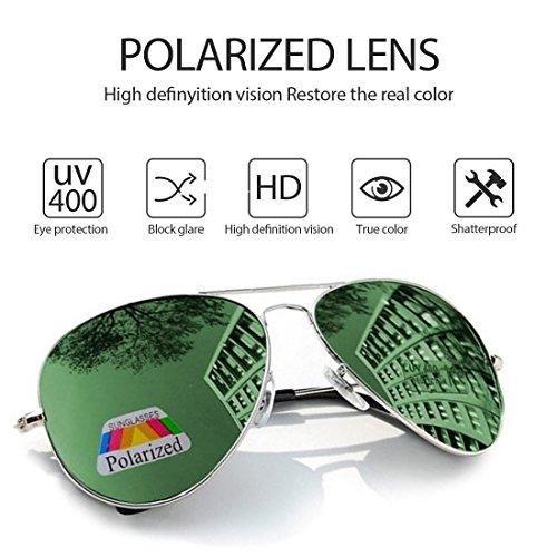 Aviador Hombre polarizado Green el de sol gafas caso con 4sold de Protección 400 conducción UV CdXIw66q