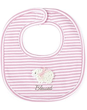 Baby-Girls Newborn I Am Blessed Lamb Bib