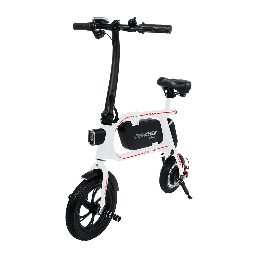 Swagtron 200W SWAGCYCLE Envy Steel Frame Folding Electric Bicycle e Bike w/Automatic Headlight - Reach 10 mph; 264 lbs Max Load - White by Swagtron