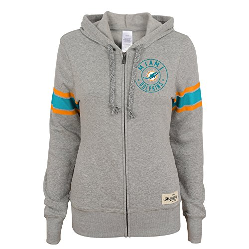Outerstuff NFL Junior Girls Boyfriend Full Zip Hood, Miami Dolphins, Heather Grey, L(11-13)