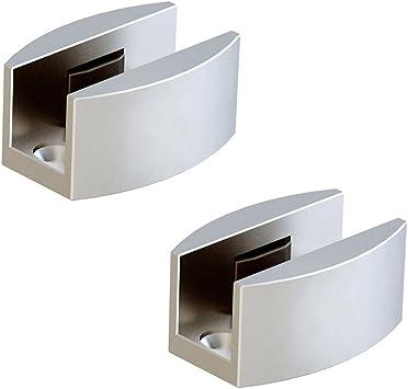 Juego de 2 guías de aluminio para puertas correderas de cristal sin marco.: Amazon.es: Bricolaje y herramientas
