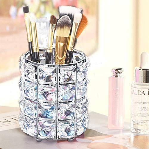 Manvi Silver Cylinder Crystal Candle Holders Candlestick Holders, Makeup Brush Storage Box Container for Vanity Bathroom Bedroom Office Desk Shiny Candlestick