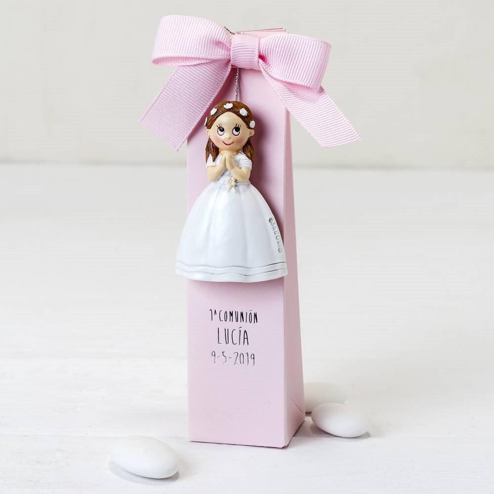 Pack 10 imanes comunión niña con corona y estuche con dulces ...