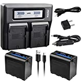 Kastar 2 Pack Battery and LCD Dual Fast Charger for Sony NP-F980 Pro NP-F970 HDR-AX2000 HDR-FX1 HDR-FX1000 HDR-FX1000E HDR-FX7 HDR-FX7E HVL-20DW HVL-20DW2 HVL-LBPA HVL-ML20