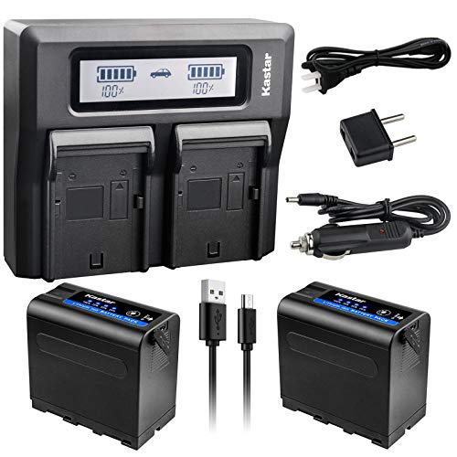 Kastar 2 Pack Battery and LCD Dual Fast Charger for Sony NP-F980 Pro NP-F970 CCD-TRV45 CCD-TRV46 CCD-TRV47 CCD-TRV48 CCD-TRV49 CCD-TRV51 CCD-TRV510 CCD-TRV517 CCD-TRV54 CCD-TRV55 CCD-TRV56 CCD-TRV57
