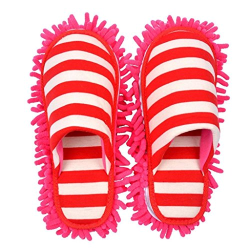 Selric Cozy & Washable Dust Mop Slippers Stripe Closed Toe, Two Pairs of Mop Soles Included, Chenille Fibre Detachable Mop Soles, Indoor House Slippers 9 7/9