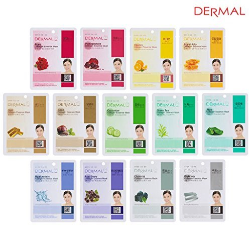 DERMAL 13 Collagen Essence Full Face Facial Mask Sheet Green Combo Pack- Skin Moisturizing & Soothing, The Ultimate Supreme Collection for Every Skin Condition Day to Day Skin Concerns. ()