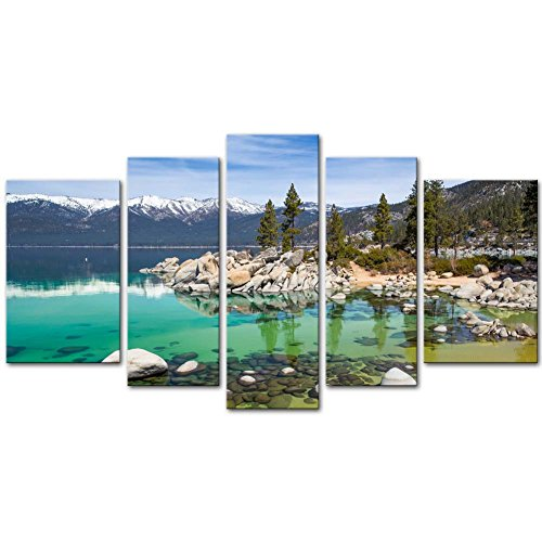 So Crazy Art - Canvas Print Wall Art Painting For Home Decor,Sandy Lake Tahoe Beach With Crystal Clear Turquoise Water And Some Kayakers Rocky Shore In Nevada California United States.Cloud Snow With Sierra Nevada Mountains Rocks Trees In Northwest Twilight 5 Piece Panel Paintings Modern Giclee Stretched And Framed Artwork The Picture For Living Room Decoration,Landscape Pictures Photo Prints On Canvas